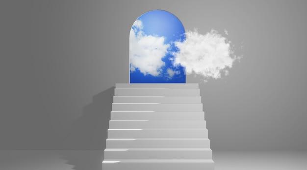 Treppe zur tür, 3d-rendering
