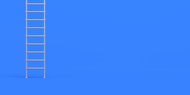 Treppen auf blauem hintergrund. banner. 3d-darstellung.