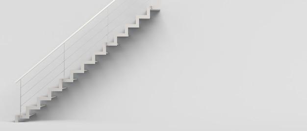Treppen auf weißem hintergrund isoliert. banner. 3d-darstellung. innenarchitektur.