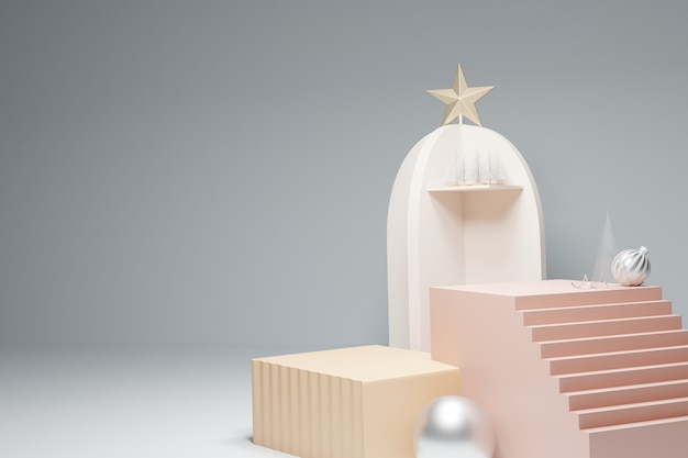 Treppenpodest und box mit weihnachtsschmuck verziert