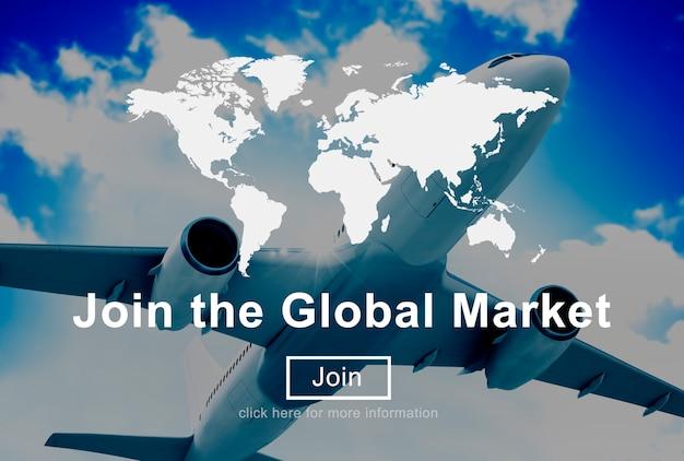Treten sie dem globalen marketing-geschäftsstrategie-handels-website-konzept bei