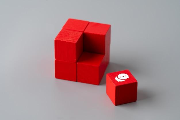 Treten sie mit uns ikone auf buntem puzzlespiel in verbindung