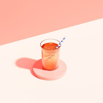 Trinken sie im glas mit eis und stroh auf beigem hintergrund, 3d-rendering