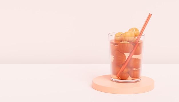 Trinken sie im glas mit kürbissen auf beigem hintergrund für werbung an herbstferien oder verkäufen, 3d-rendering