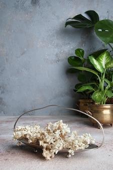 Trockene hortensieblumen im weinlesevase