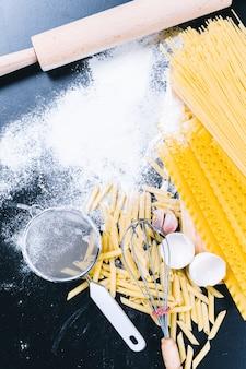 Trockene teigwarenspaghettis mit bestandteil