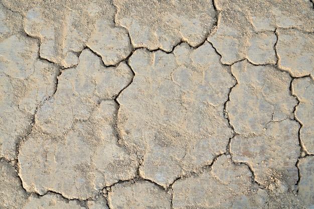 Trockene wüstenlandbeschaffenheit mit spaltung. konzept der gebrochenen erde in der dürre.
