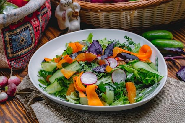 Trockener aprikosensalat mit karottenrettichsalat aragon basilikum dill petersilie seitenansicht