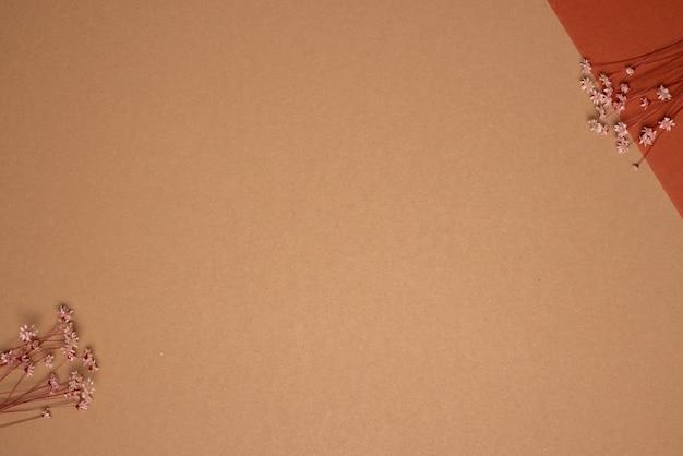 Trockener blumenzweig auf hellbraunem hintergrund. trend, minimal getrocknetes konzept mit copyspace-draufsicht