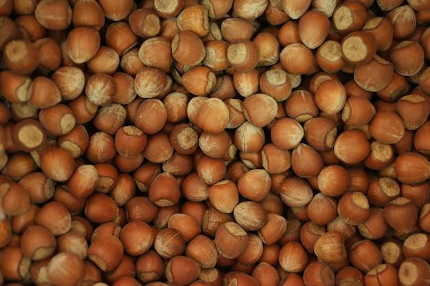 Trockener brauner haselnusshintergrund. stapel von ungeschälten braunen haselnüssen schließen oben.