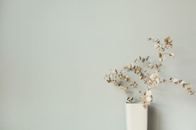 Trockener eukalyptuszweig in vase auf pastellneutraler oberfläche