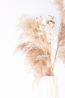 Trockener kräuterstrauß auf weißem hintergrund.