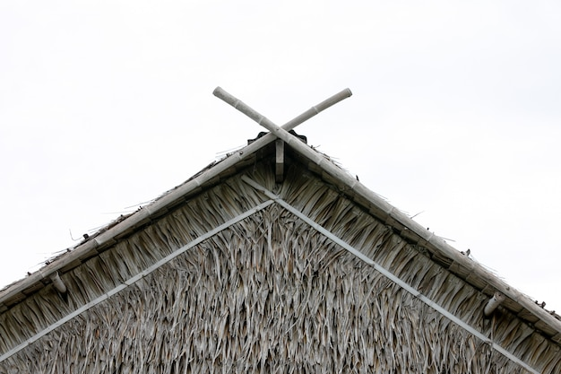 Trockenes gras dach oder wand hintergrund tropisches dach am strand