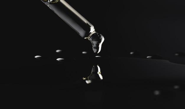 Tropfen öl, das von einer glaspipette fällt, die auf einem schwarzen hintergrund lokalisiert wird. kosmetologie, chemie, parfümerie. makrofoto nahaufnahme