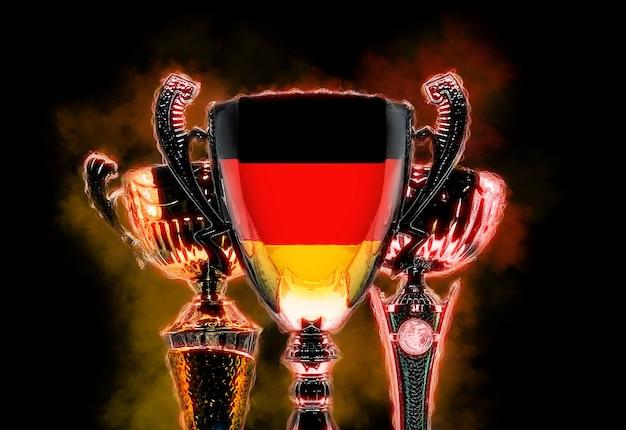 Trophäenbecher texturiert mit flagge von deutschland. digitale abbildung.