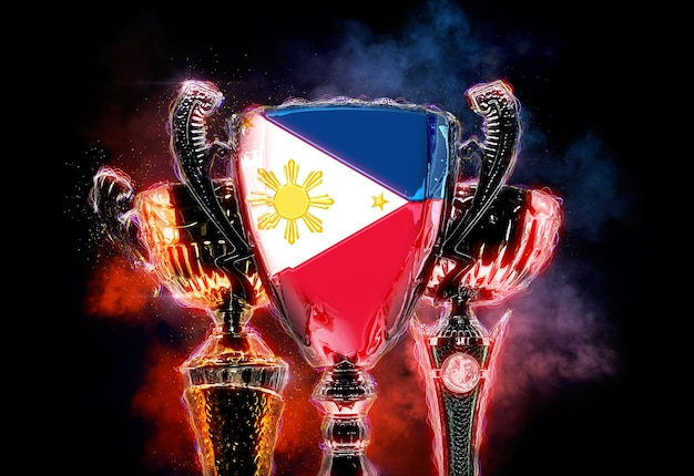 Trophy cup strukturiert mit flagge der philippinen. digitale 2d-illustration.