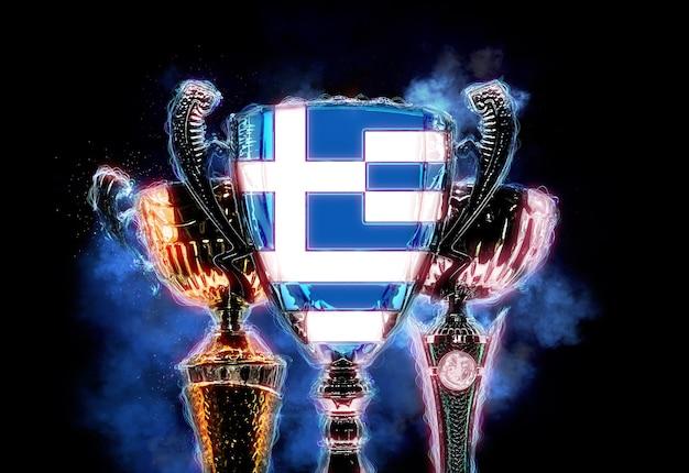 Trophy cup strukturiert mit flagge griechenlands. digitale 2d-illustration.