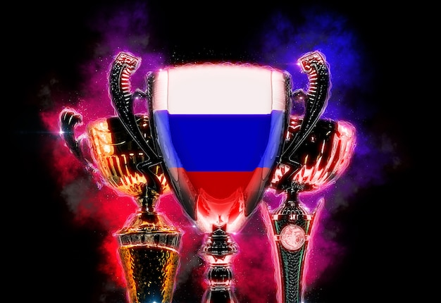 Trophy cup strukturiert mit flagge russlands. digitale abbildung.