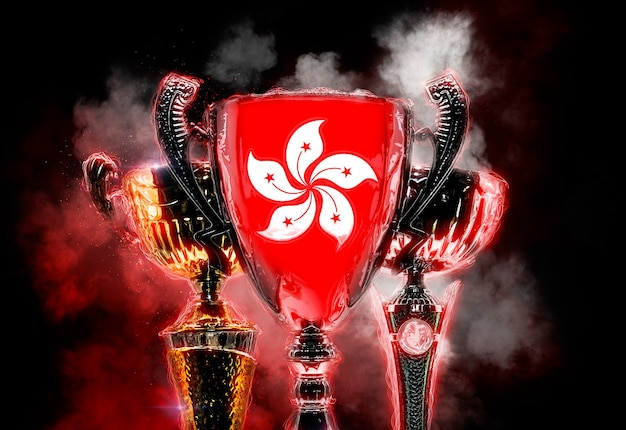Trophy cup strukturiert mit flagge von hongkong. digitale 2d-illustration.