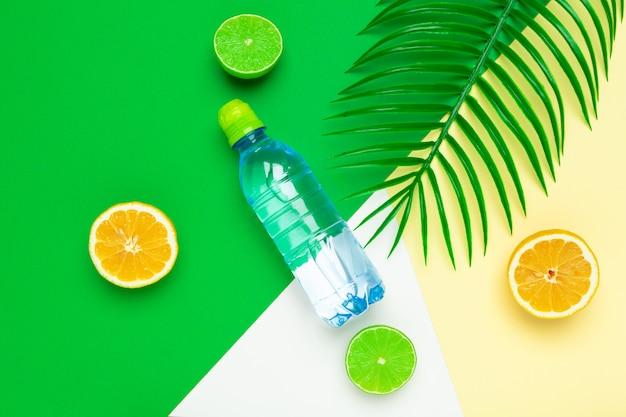 Tropic blätter und eine flasche wasser. entgiftungsfrucht hineingegossenes wasser.