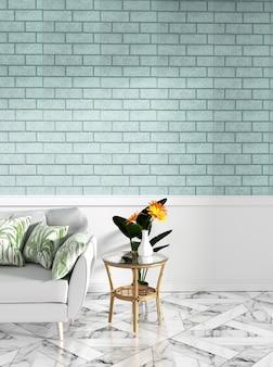 Tropisch mit sofa und dekoration und tadelloser backsteinmauer auf granitboden