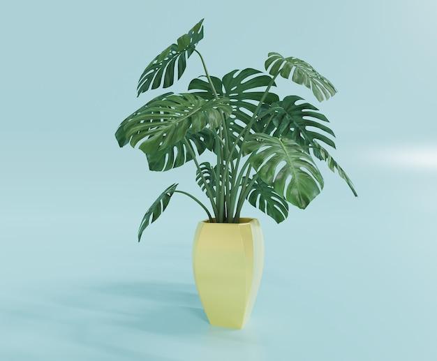 Tropische anthuriumpflanze mit gelbem topf