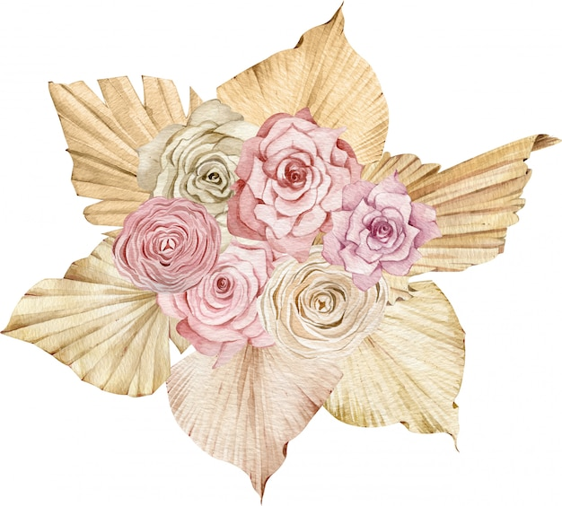 Tropische aquarellillustration mit goldenen palmblättern und errötenden und cremigen rosen. strauß exotischer blumen.