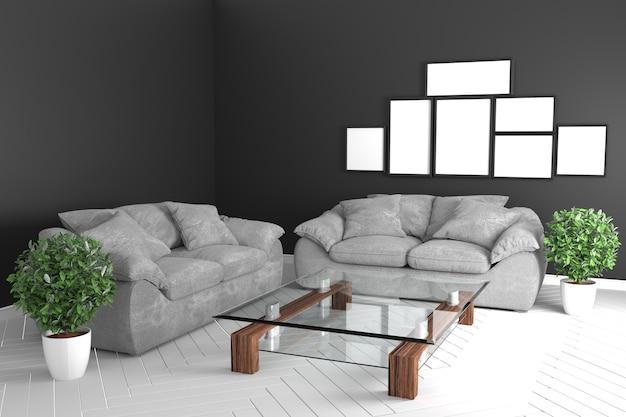 Tropische art des schwarzen farbraumes mit grauen sofas und glastabelle. 3d-rendering
