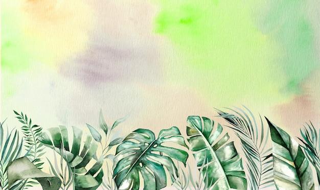 Tropische blätter des aquarells säumen die grenze mit aquarellhintergrund