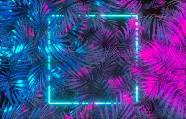 Tropische blätter mit neonrahmenhintergrund
