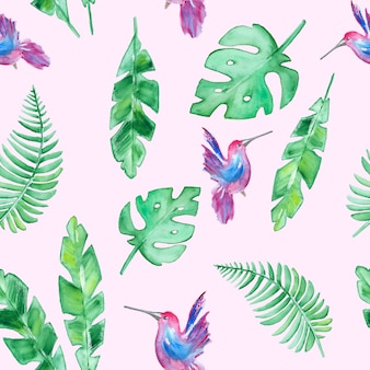 Tropische blätter und kolibri muster