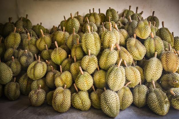 Tropische frucht des durian für verkauf auf dem markt auf sommer - thailändischer fruchtexport