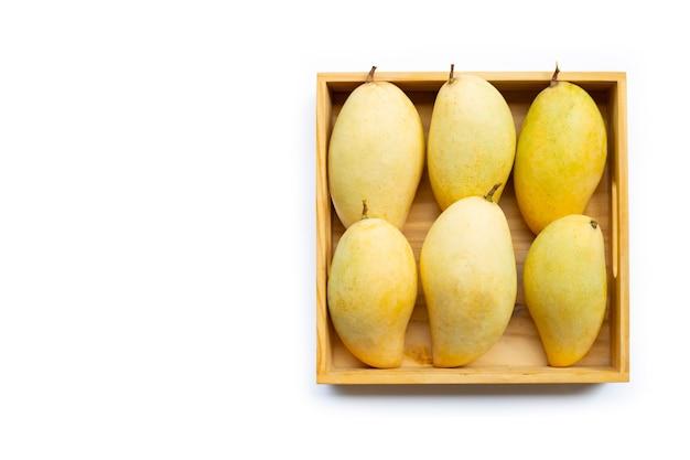 Tropische frucht, mango in wooen kasten auf weißem hintergrund. draufsicht