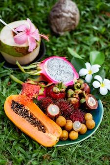 Tropische früchte der region asien thailand auf gras