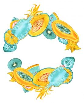 Tropische früchte runder rahmen. modische sommer-farbexotische früchte grenze auf weißem hintergrund. ananas, karambole, sternfrucht, papaya, melone kranz. blaue minze, gelber druck für einladungskarten