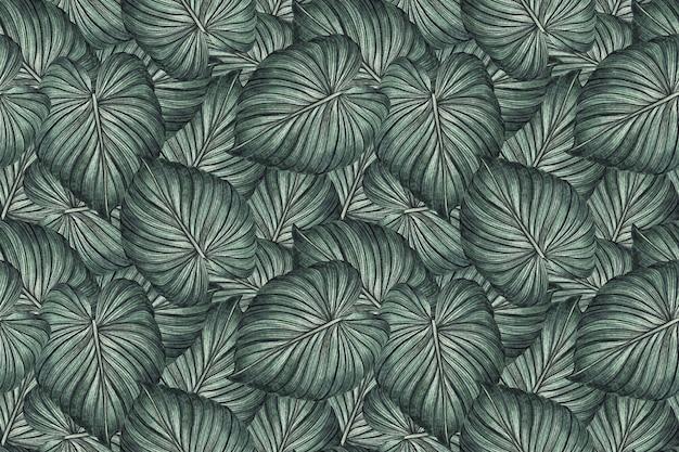 Tropische grüne blätter der aquarellmalerei nahtlosen musterhintergrund.