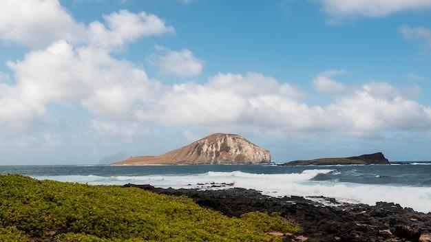 Tropische hawaii-landschaft mit dem blauen meer