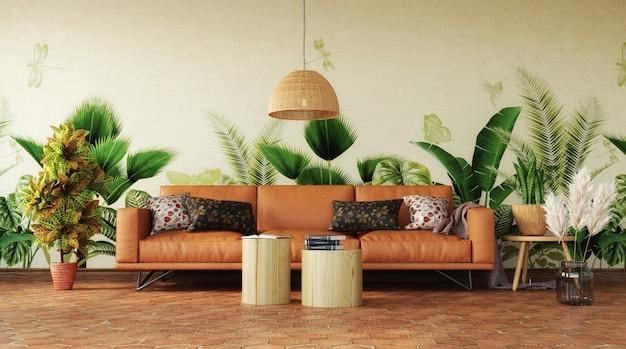 Tropische innenarchitektur des wohnzimmers