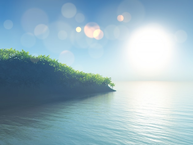 Tropische landschaft 3d mit palmeinsel