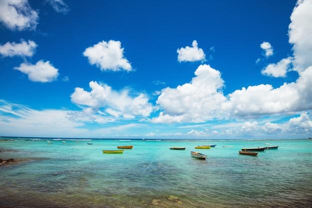 Tropische landschaft des schönen wilden strandes mit felsen unter wasser