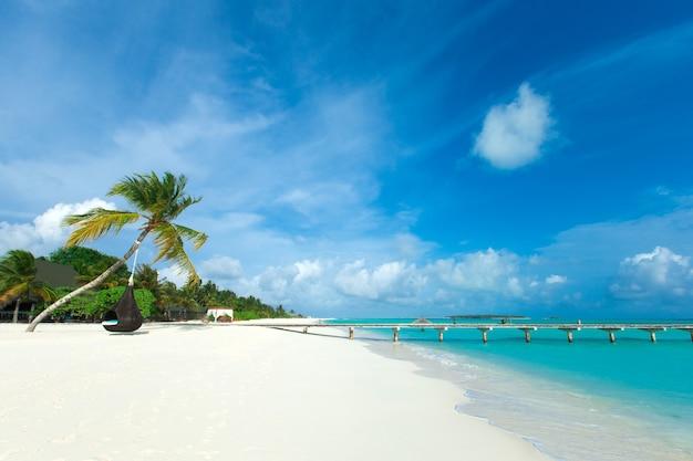 Tropische malediven-insel mit weißem sandstrand und meer