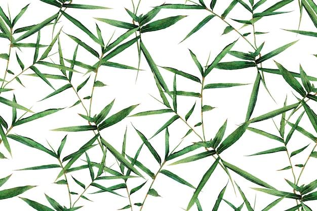 Tropische natur der aquarellmalerei mit handgezeichneten bambusblättern.