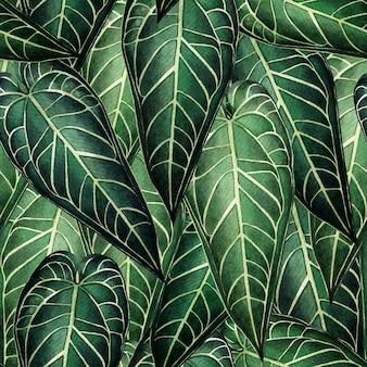 Tropische natur des aquarells mit nahtlosem muster der hand gezeichneten palmblätter.