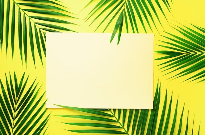 Tropische palmblätter auf gelbem pastellhintergrund mit papierkartenanmerkung. minimales sommerkonzept. grünes blatt auf druckvollem pastellpapier