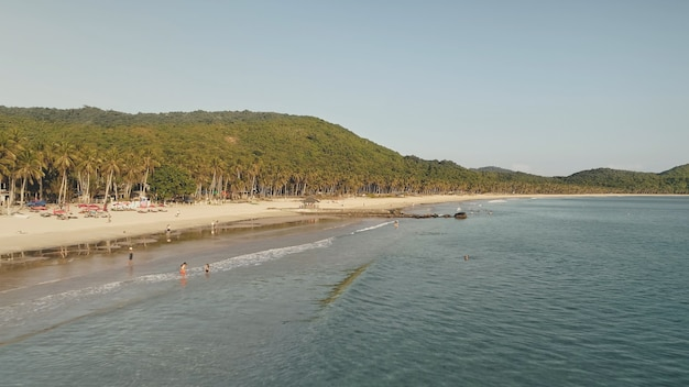 Tropische paradiesinsel el nido, philippinen, asien. sandstrand am meer mit palmen