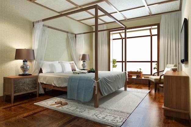 Tropische schlafzimmersuite im resort hotel und resort