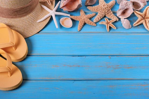 Tropische strand sommer starfish flip flops hintergrund grenze