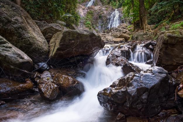 Tropische waldlandschaft mit einem wasserfall unter steinen und spinnennetzen