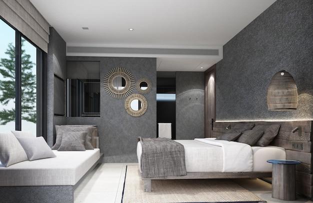 Tropischer asiatischer stil des schlafzimmers mit 3d-darstellung der holz- und betonwand