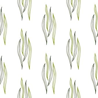 Tropischer botanischer entwurf formt nahtloses muster auf weißem hintergrund.